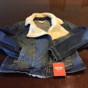 NWT denim with faux wool color!